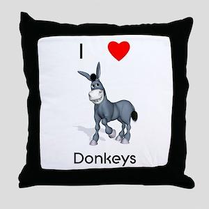 I love donkeys Throw Pillow