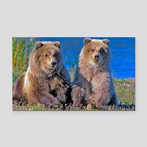 Grizzly twin Cubs Rectangle Car Magnet