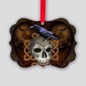 Awesome skkull with celtic knot and crow Ornament