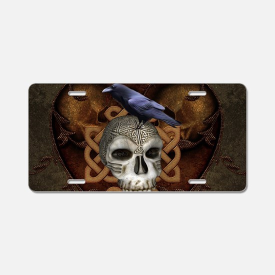 Awesome skkull with celtic knot and crow Aluminum