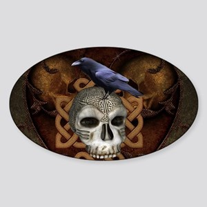 Awesome skkull with celtic knot and crow Sticker