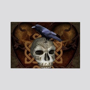 Awesome skkull with celtic knot and crow Magnets
