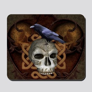 Awesome skkull with celtic knot and crow Mousepad