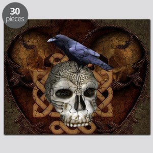 Awesome skkull with celtic knot and crow Puzzle