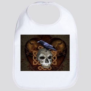 Awesome skkull with celtic knot and crow Baby Bib