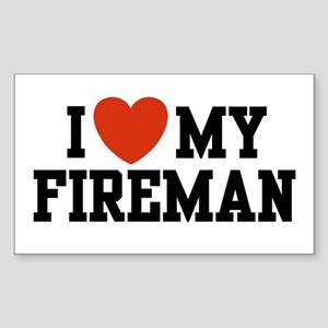 I Love my Fireman Rectangle Sticker