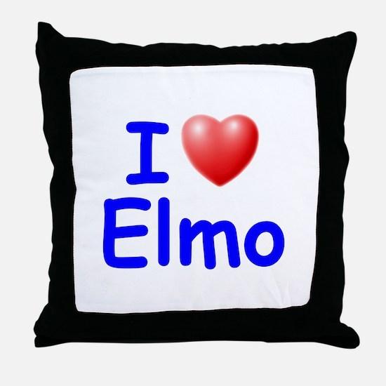 I Love Elmo (Blue) Throw Pillow