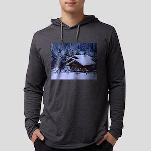 Log Cabin During Christmas Long Sleeve T-Shirt