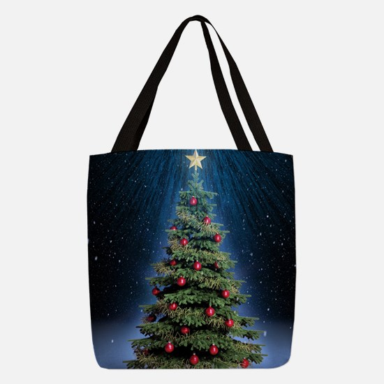 Beautiful Christmas Tree Polyester Tote Bag