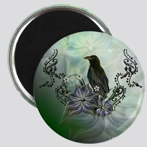Wonderful raven with flowers Magnets