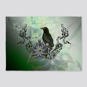 Wonderful raven with flowers 5'x7'Area Rug