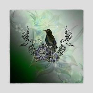 Wonderful raven with flowers Queen Duvet