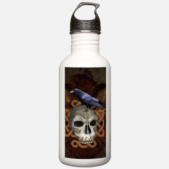 Awesome skkull with celtic knot and crow Water Bot