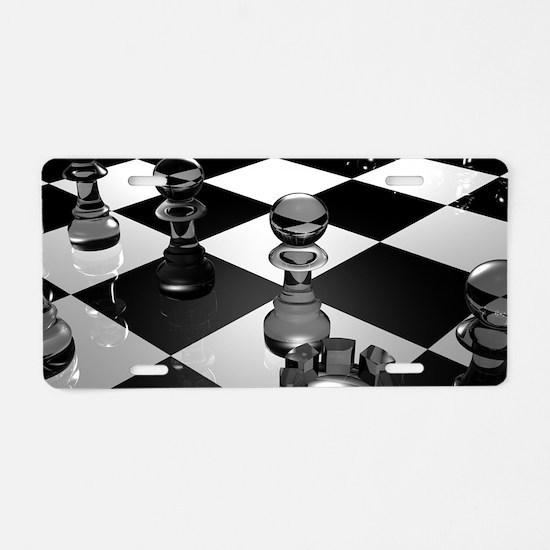 Chess Board Aluminum License Plate
