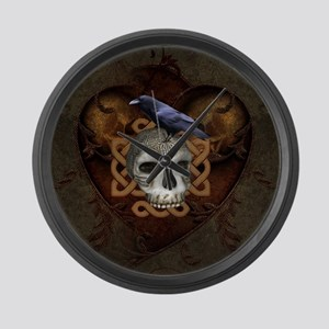 Awesome skkull with celtic knot and crow Large Wal