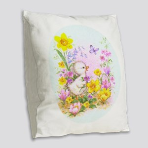Cute Easter Duckling Chick And Burlap Throw Pillow