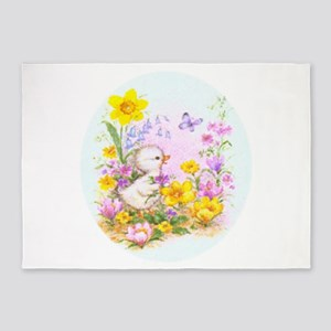 Cute Easter Duckling Chick and Spring Flowers 5'x7