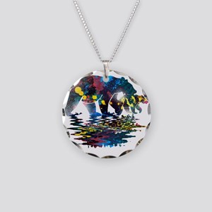 Bear Full Colour Paint Necklace Circle Charm