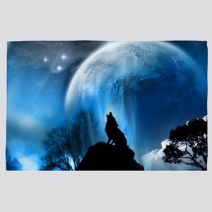 Wolf Howling At The Moon 4' x 6' Rug