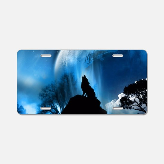 Wolf Howling At The Moon Aluminum License Plate