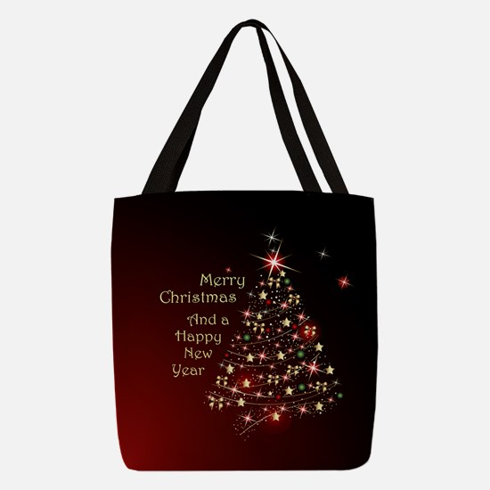 Christmas Tree And Wishes Polyester Tote Bag
