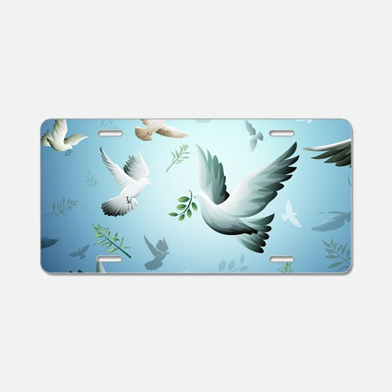 Beautiful Doves Aluminum License Plate
