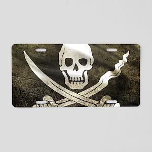 Pirate Flag Aluminum License Plate