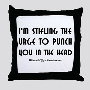 Stifling The Urge/white Throw Pillow