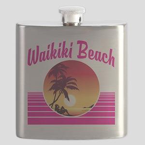 Waikiki Beach Hawaii Flask