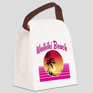 Waikiki Beach Hawaii Canvas Lunch Bag
