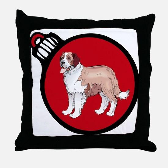 Red Saint Bernard Christmas Throw Pillow