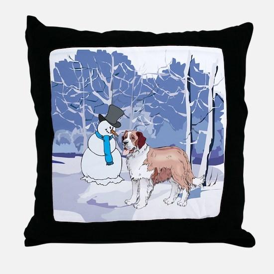 Snowman & St Bernard Holiday Throw Pillow