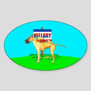 Brindle Dane Pi$$ on Hillary Oval Sticker