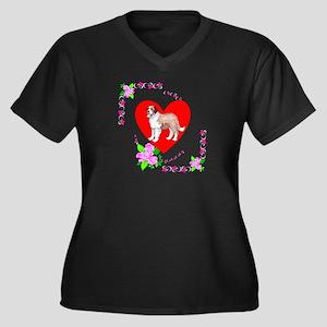 Saint Bernard Love Women's Plus Size V-Neck Dark T