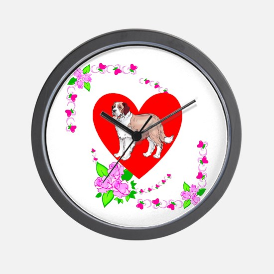 Saint Bernard Love Wall Clock