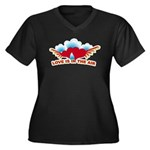 Love is in the Air Women's Plus Size V-Neck Dark T