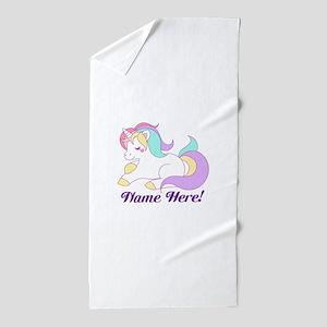 Personalized Custom Name Unicorn Girls Beach Towel