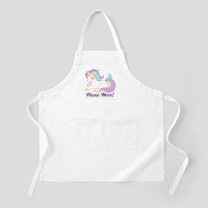 Personalized Custom Name Unicorn Girls Light Apron