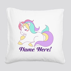 Personalized Custom Name Unicorn Girls Square Canv