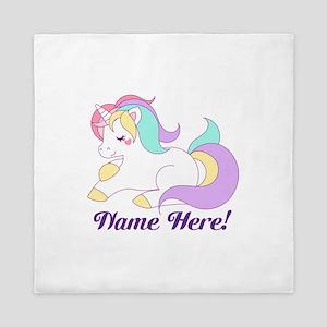 Personalized Custom Name Unicorn Girls Queen Duvet