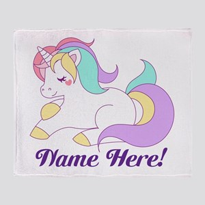 Personalized Custom Name Unicorn Girls Throw Blank