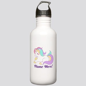 Personalized Custom Name Unicorn Girls Water Bottl
