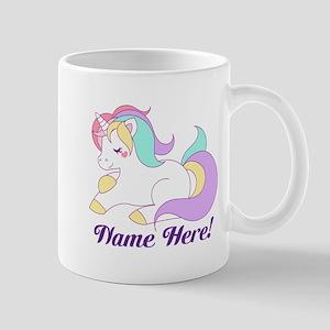 Personalized Custom Name Unicorn Girls Mugs