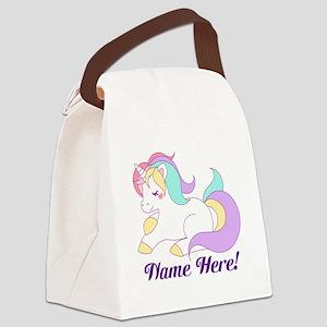 Personalized Custom Name Unicorn Girls Canvas Lunc