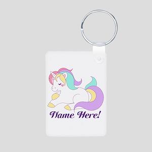 Personalized Custom Name Unicorn Girls Keychains
