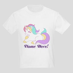 Personalized Custom Name Unicorn Girls T-Shirt