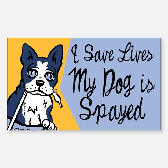 My Dog Is Spayed Rectangle Decal