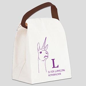 L is for Llamacorn Canvas Lunch Bag