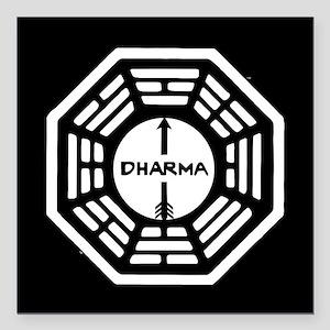 "Lost Dharma Arrow Square Car Magnet 3"" x 3"""