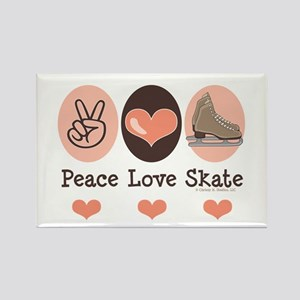 Peace Love Skate Ice Skating Rectangle Magnet